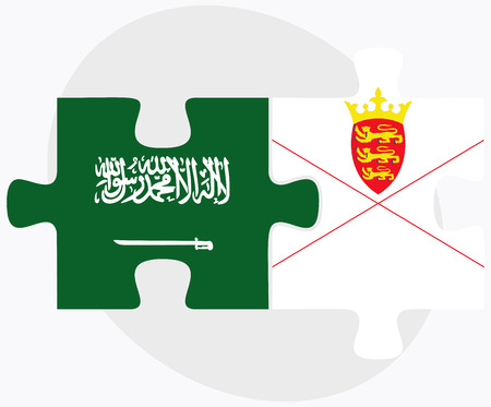 Saudi Arabia and Jersey Flags in puzzle isolated on white background Illustration