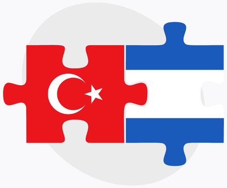 nicaragua: Turkey and Nicaragua Flags in puzzle isolated on white background