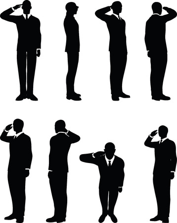 infantryman: businessman silhouette in saluting pose isolated on white background