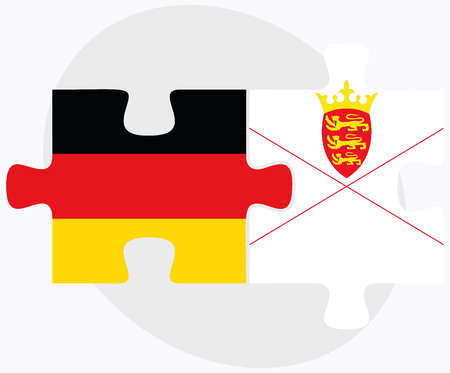 bailiwick: Germany and Jersey Flags in puzzle isolated on white background