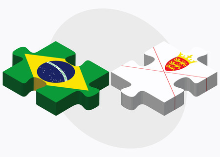 bailiwick: Brazil and Jersey Flags in puzzle isolated on white background Illustration
