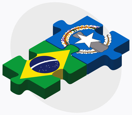 mariana: Brazil and Northern Mariana Islands Flags in puzzle isolated on white background