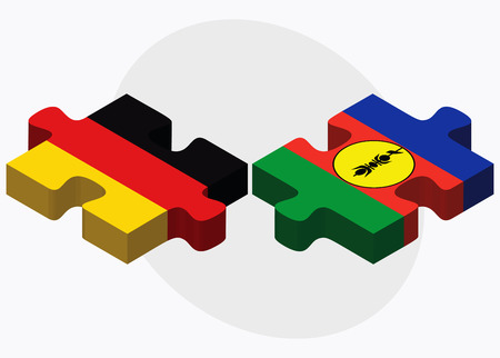 new caledonia: Germany and New Caledonia Flags in puzzle isolated on white background Illustration