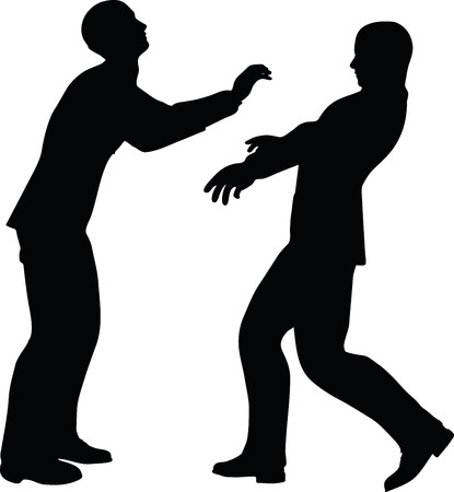 poke': EPS 10 Vector illustration in silhouette of businessman push Illustration
