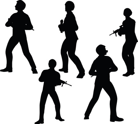 guerrilla: EPS 10 Vector illustration in silhouette of businessman soldier stand