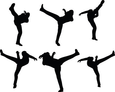 jolt: EPS 10 Vector illustration in silhouette of businessman kick
