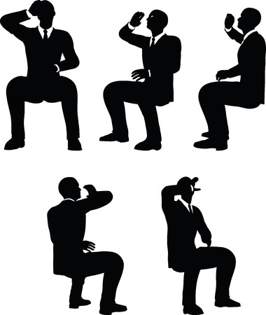 gulp: EPS 10 Vector illustration in silhouette of businessman drink Illustration