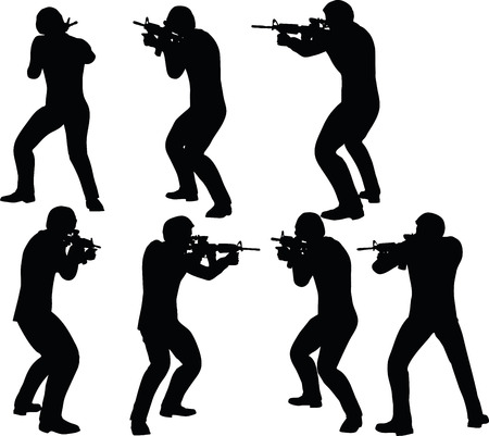 guerrilla: EPS 10 Vector illustration in silhouette of businessman soldier shoot