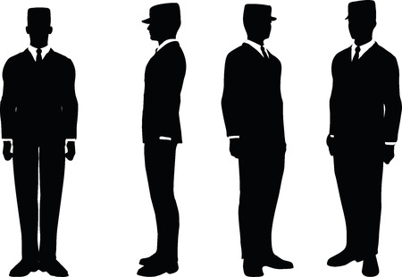 tending: EPS 10 Vector illustration in silhouette of businessman attention