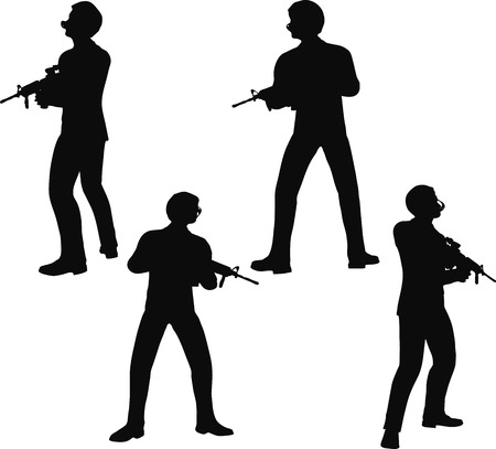 enlisted man: EPS 10 Vector illustration in silhouette of businessman soldier stand