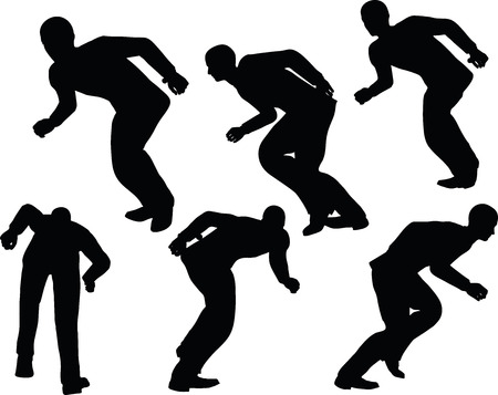 scamper: EPS 10 Vector illustration in silhouette of businessman run with lean