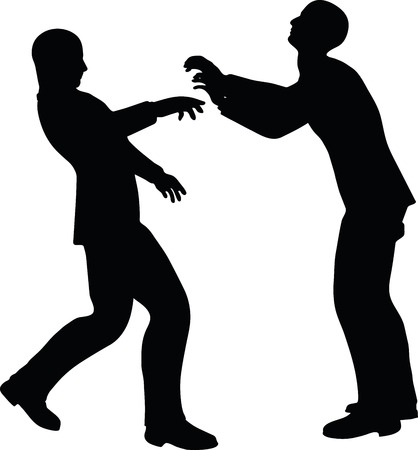 straining: EPS 10 Vector illustration in silhouette of businessman push Illustration