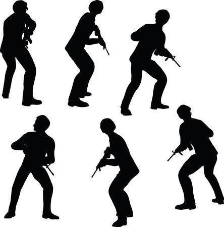 mosquetero: EPS 10 ilustración vectorial de la silueta del hombre de negocios soporte soldado