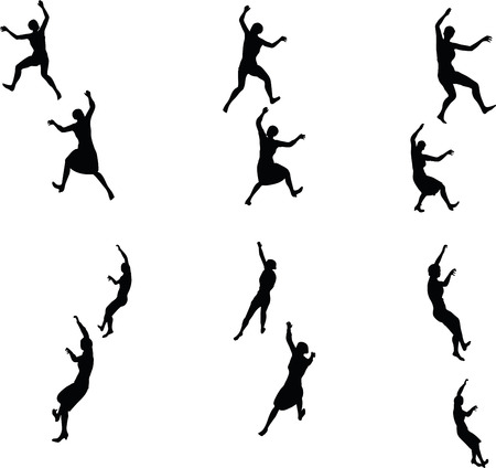 clamber: EPS 10 Vector illustration in silhouette of businesswoman climbing
