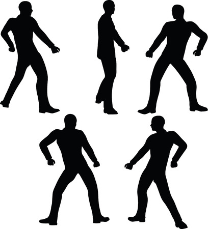 EPS 10 Vector illustration in silhouette of businessman pull it