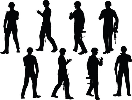 guerrilla: EPS 10 Vector illustration in silhouette of businessman soldier walking