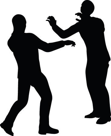 exerting: EPS 10 Vector illustration in silhouette of businessman push Illustration