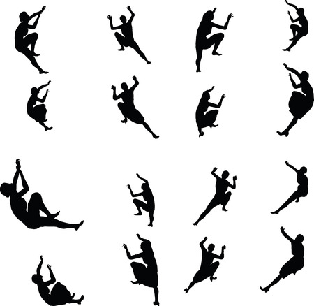escalate: EPS 10 Vector illustration in silhouette of businesswoman climbing