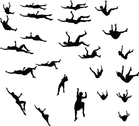 落下ビジネスウーマンのシルエットで EPS 10 ベクトル イラスト