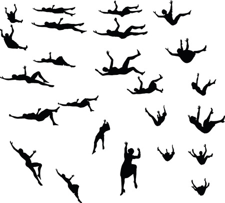 EPS 10 Vector illustration in silhouette of business woman falling