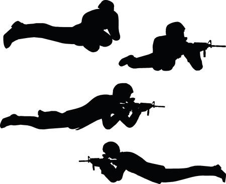 mosquetero: EPS 10 ilustraci�n vectorial de la silueta del hombre de negocios rodaje soldado Vectores