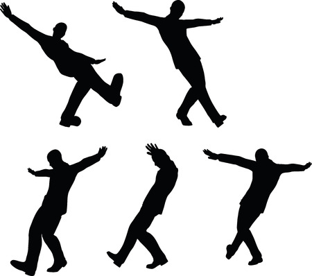 hip hop dance pose: EPS 10 Vector illustration in silhouette of businessman hip hop move