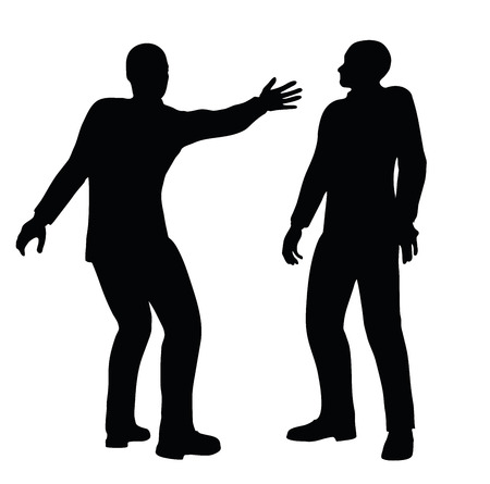 slap: EPS 10 Vector illustration in silhouette of businessman slap Illustration