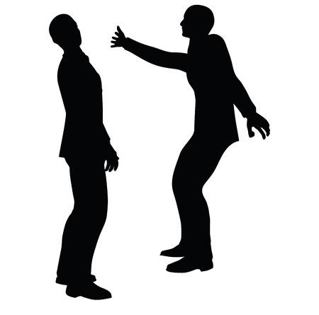 wallop: EPS 10 Vector illustration in silhouette of businessman slap Illustration
