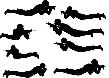 EPS 10 Vector illustration in silhouette of businessman shoot Illustration