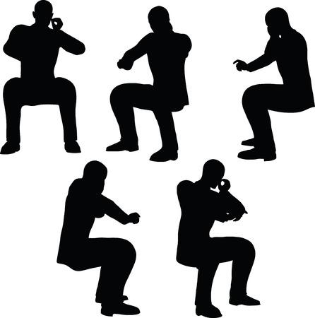 EPS 10 Vector afbeelding in silhouet van zakenman telefoon bellen Stock Illustratie