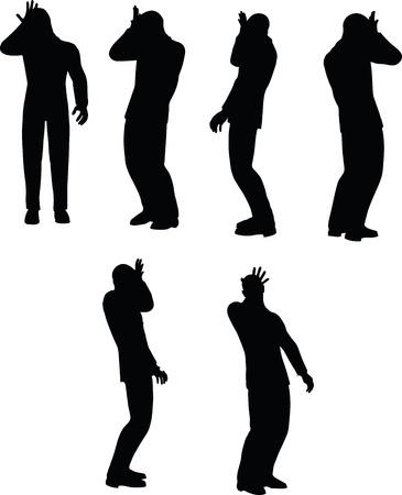 EPS 10 ilustración vectorial de la silueta de la cabeza justo duh negocios