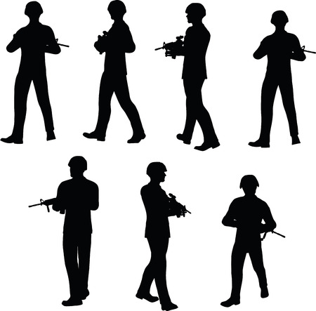 EPS 10 Vector illustration in silhouette of businessman patrol