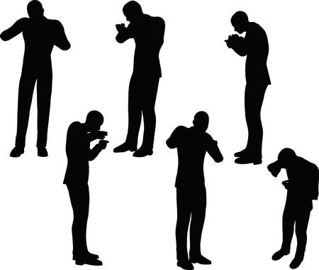 gorging: EPS 10 Vector illustration in silhouette of businessman standing eating Illustration
