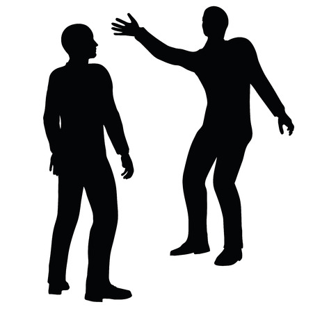 bash: EPS 10 Vector illustration in silhouette of businessman slap Illustration