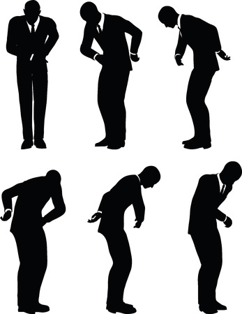 flexure: EPS 10 Vector illustration in silhouette of businessman bow Illustration