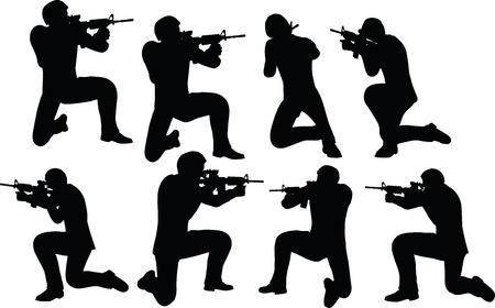 mosquetero: EPS 10 ilustración vectorial de la silueta del hombre de negocios rodaje soldado Vectores