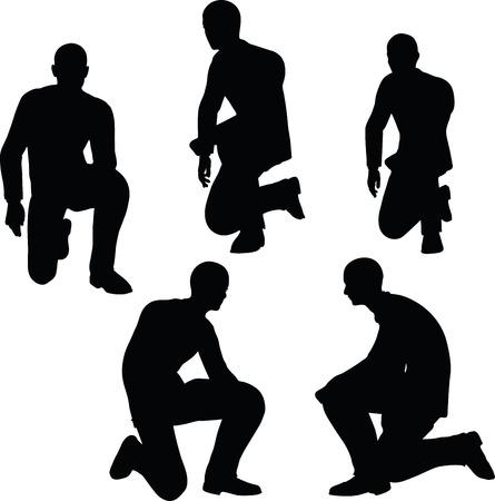 arrodillarse: EPS 10 ilustración vectorial de la silueta del hombre de negocios de pie a arrodillarse