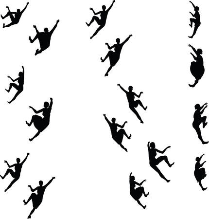 ascend: EPS 10 Vector illustration in silhouette of businesswoman climbing