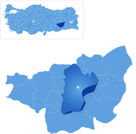 sur: Map of Diyarbakir with each administrative district where Sur is pulled out Illustration