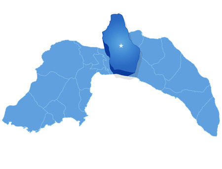 pulled out: Map of Antalya with each administrative district where Serik is pulled out Illustration