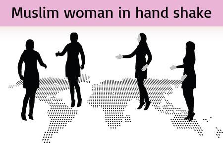 Donna musulmana silhouette in posa stretta di mano, isolato su sfondo bianco