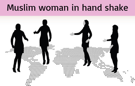 mohammedan: Muslim woman silhouette in hand shake pose, isolated on white background Illustration