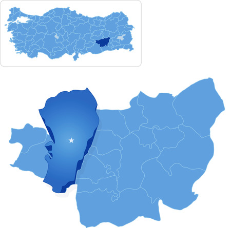 subdivisions: Map of Diyarbakir with each administrative district where Ergani is pulled out