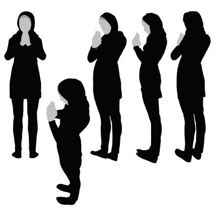 Donna musulmana silhouette in preghiera posa, isolato su sfondo bianco