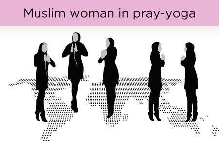Muslim woman silhouette in pray pose, isolated on white background