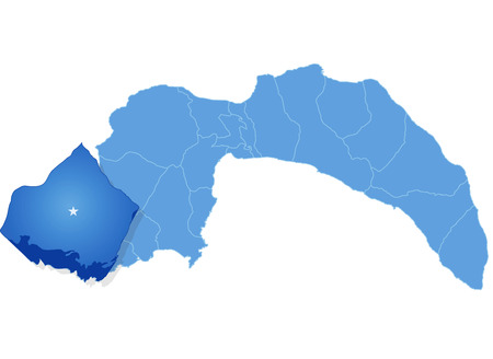 plat: Map of Antalya with each administrative district where Kas is pulled out Illustration
