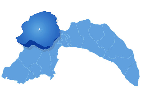 Map of Antalya with each administrative district where Korkuteli is pulled out