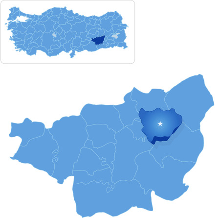pulled out: Map of Diyarbakir with each administrative district where Hazro is pulled out