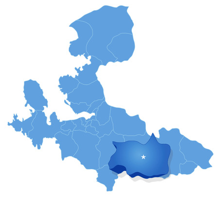 pulled out: Map of Izmir with each administrative district where Tire is pulled out
