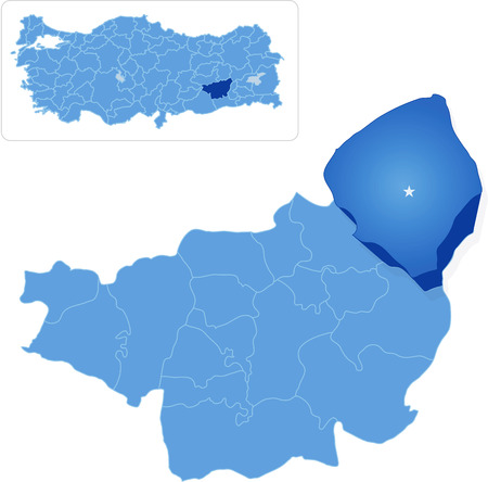 pulled out: Map of Diyarbakir with each administrative district where Kulp is pulled out